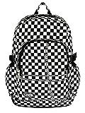 Checker Blanco y Negro Mochila Bolsa de monopatín, con protección de portátiles | Escuela College Viaje Trabajo | cuadros Rock fangbanger Emo Skate | Chok