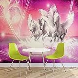 Geflügelte Pferde Pegasus Rosa- Forwall - Fototapete - Tapete - Fotomural - Mural Wandbild - (589WM) - XL - 254cm x 184cm - Papier (KEIN VLIES) - 2 Pieces