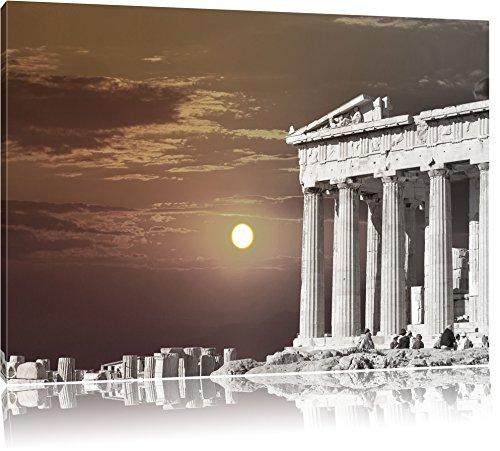 schöner Tempel der Athene schwarz/weiß Format: 120x80 auf Leinwand, XXL riesige Bilder fertig gerahmt mit Keilrahmen, Kunstdruck auf Wandbild mit Rahmen, günstiger als Gemälde oder Ölbild, kein Poster oder Plakat