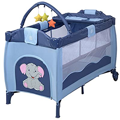 Costway Portable Infant Baby Travel Cot Bed Play Pen Bassinet 2 in 1 Christmas Gift