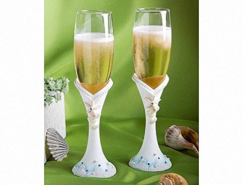 Plage de faveur mariage Ensemble de flûtes à Champagne