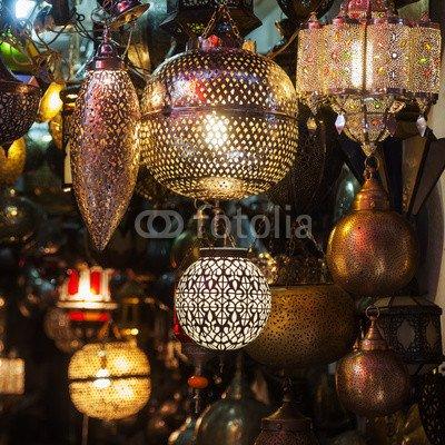 """Alu-Dibond-Bild 80 x 80 cm: """"arabische Lampen im Basar von Marrakesch"""", Bild auf Alu-Dibond"""