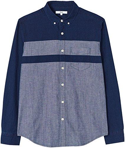 FIND Herren Zweifarbiges Button-down-Hemd Blau (Dark Vintage Wash)