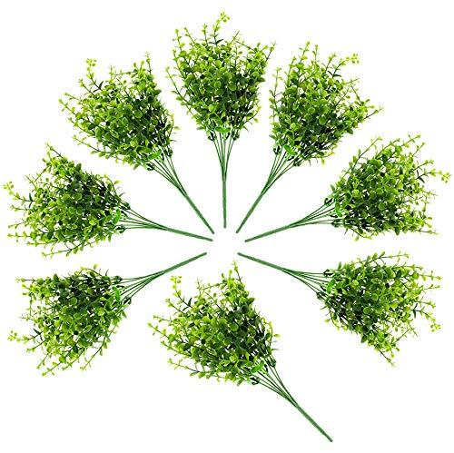 �nstliche Sträucher (8er Pack); Faux Kunststoff Blattgrün Nachahmung, Buchsbaum Pflanzen für Dekorieren Indoor & Outdoor ()