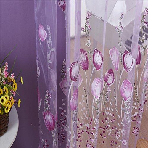 KESOTO Tenda Pannello Tulipano Porta Pura in Organza Trasparente Decorazione Tenda Casa 100x200cm - Fiore Viola