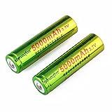 Li-ion battery, HUI.HUI 2pcs 3.7v 5000mAh 18650 Nachladbare Litium-ionen batterie (A)