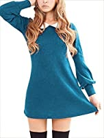 Allegra K Women Peter Pan Dress Bracelet Sleeve Button Down Back Short Dresses