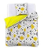 DecoKing Premium 31223 Bettwäsche 140x200 1 Kissenbezug 70x90 weiß geometrisches Muster Bettbezüge Renforcé Baumwolle Mako-Satin Baumwollsatin zweiseitig Ducato Collection Geometric gelb grau