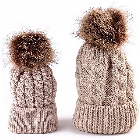 POTOBrand, mamá y bebé que hace punto mantenga caliente sombrero (Caqui)