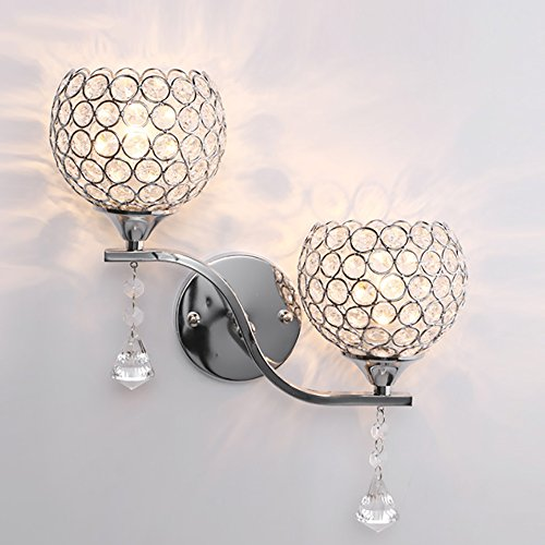 Z&D Continental Modern Crystal Wall Lamp,Spherical Wall Sconce,For Study,Bedside, Kitchen, Living Room, Hallway, Etc Home Decoration,With Pendants,Single/Double Head,E27 Lamphead,2