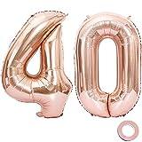Juland Luftballons 40. Geburtstag XXL Riesen Folienballon Luftballon Zahl 40 Rose Gold Nummer Ballons Große Folienmylar-Ballons 40-Zoll-Riesen-Jumbo-Zahl-Ballons für 40. Geburtstagsfeierdekorationen