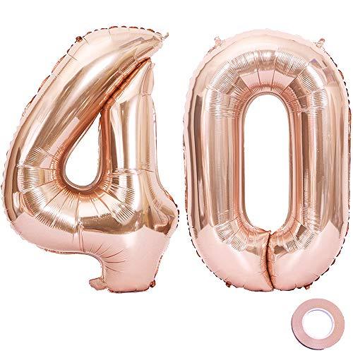 0. Geburtstag XXL Riesen Folienballon Luftballon Zahl 40 Rose Gold Nummer Ballons Große Folienmylar-Ballons 40-Zoll-Riesen-Jumbo-Zahl-Ballons für 40. Geburtstagsfeierdekorationen ()