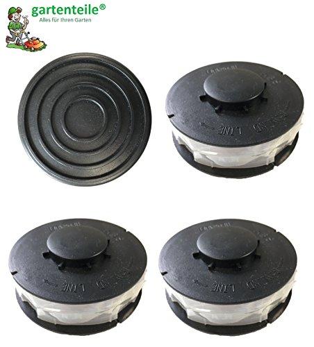 3 Ersatz Spule + 1 Haube / Deckel passend für Top Craft TCR 450, TCR 451,TCR 500 Spulenabdeckung Elektro Rasentrimmer ALDI HOFER Fadenspule Topcraft Trimmerspule Deckel -