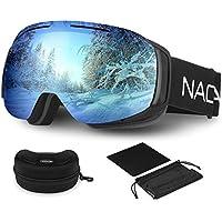 NACATIN Skibrille Verspiegelt Damen und Herren, Doppel-Objektiv 100% UV-Schutz Anti-Fog Snowboard Schutzbrille mit Rahmenloser Linse Ski Goggles für Brillenträger