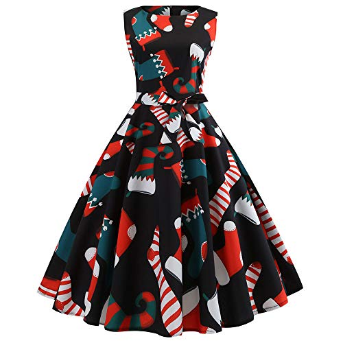 Ghemdilmn Retro Print Ärmellose Weihnachten Abend Party Swing Kleid Damen Santa Rentier Christmas Festlich Abendkleider Brautkleid Cocktailkleid Dress Frauen