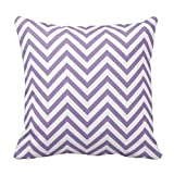 Lovest Unique Purple And White Chevron Pattern Pillows Best Pillowcase Custom Zip Throw Pillow Case Cover (Standard 18X18 Inch)