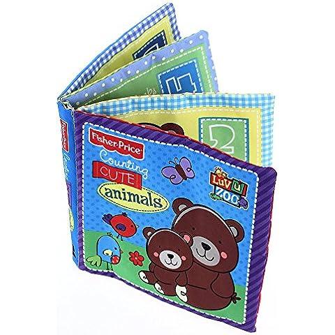 fitTek® FACILA Libro de Tela Papel Sonido Dibujos Animados Oso 4 Páginas para Bebé