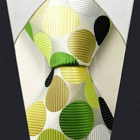 Intrepid Executive Wardrobe Accessory , Handmade 100% Silk Jacquard Woven White , Yellow , Green, and Black Colors Polka Dot 3.4 Classic Silk Jacquard Men's Necktie Tie by Intrepid