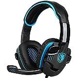 SADES SA 708 3.5mm Stereo Surround Sound PC Gaming Headset Bandeau avec microphone Over-the-Ear Contrôle du volume pour PC Gaming (Bleu)