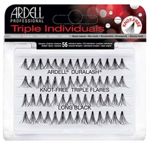 Ardell Triple Individual Lashes - Knot Free Triple Flares - Long Black