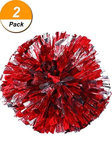 2 Packung Cheerleading Pompoms Metallic Blume Ball Folie Kunststoff Ringe Pom Poms für Jubel, Tanzgruppe (Rot und Silber)
