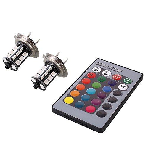Preisvergleich Produktbild Sedeta® H7 5050 RGBW 27SMD helle LED-Nebelscheinwerfer w / 24 Tasten der Fernbedienung RC-Scheinwerfer Tagfahrlicht