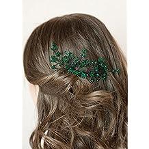 Handmadejewelrylady Pasador con piedras brillantes y diseño de flor para  novia aa499f8446c1