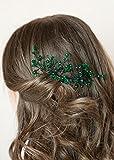 handmadejewelrylady novia verde Rhinestone Flor pelo peine boda cristal tocado elegante gorro de...