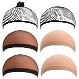 PChero Set di Retine per Parrucche con Retine Nero, Retine Beige e Retine Marrone (6 Pezzi)