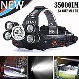 Linterna Frontal LED, Manadlian linternas led LED faro recargable 35000 LM 5X XM-L T6 Antorcha de cabeza de viaje (Negro, 85 x 35 x 47mm)