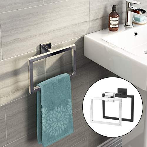 DDOQ Platz Handtuch Edelstahl Ring Halter Moderne Handtuchhalter Rack Badezimmer Wand Zubehör (Farbe : Black) -
