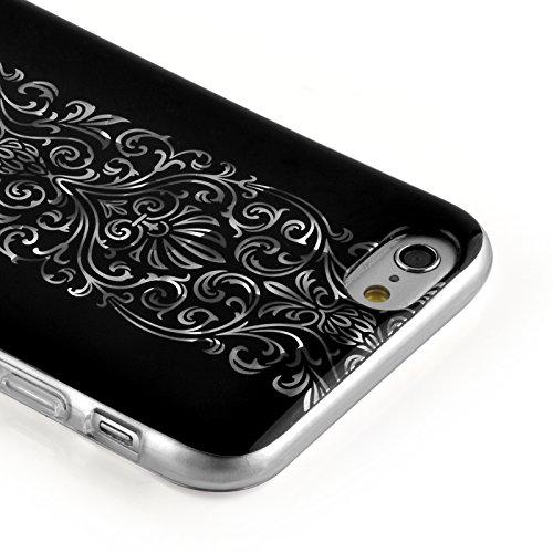 JAMMYLIZARD | Ultra Slim Silikonhülle für [ iPhone 6 & 6s 4.7 Zoll ] mit Tarnmuster, ROT / PINK / GRAU 3D Glam - silbernes BAROCKMUSTER auf SCHWARZ