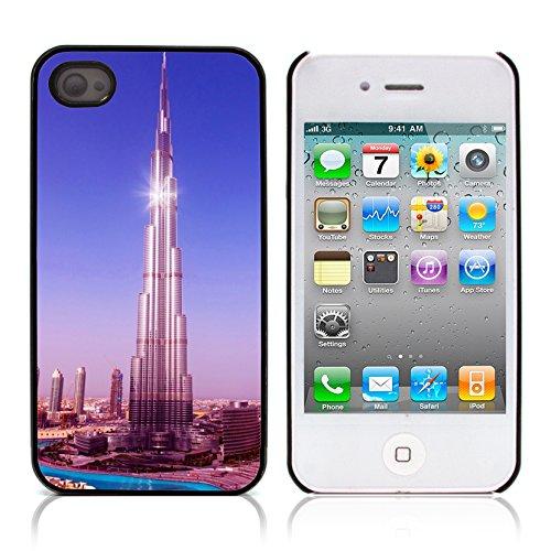 Graphic4You Burj Khalifa Skyscraper Dubai Postkarte Ansichtskarte Design Harte Hülle Case Tasche Schutzhülle für Apple iPhone 4 und 4S Design #4