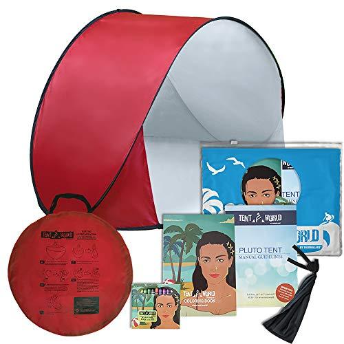 """Tenda da spiaggia per bambini """"pluto beach"""" ad apertura istantanea. protegge i bambini dal sole vento e pioggia. ottima per la spiaggia e il parco. in omaggio un libro da colorare per i bambini! rossa"""