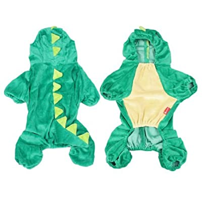SODIAL(R) Halloween Costume Dinosaur Design Dog Poodle Coat Clothing Overall Jumpsuit L