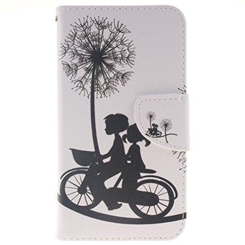 Anlike für LG K10 (5,3 Zoll) Hülle / Handyhülle / Schutzhülle / Ledertasche / Tasche / Case / Cover / Flip Brieftasche / Bookstyle mit Standfunktion Kredit Karteneinschub und Magnetverschluß - Liebhaber Fahrrad