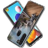 Funda para Samsung Galaxy A21,Transparente [Anti-Choque] [Anti-arañazos] Silicona Suave TPU Bumper y Duro PC Dos en Uno Protectora Funda con Tarjeta de Dibujos Animados (Gato Espejo)