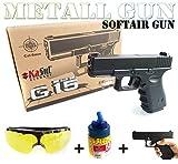 KaSul® Softair Pistole Metall Federdruck SK-G15 Black Metal Gun < 0,5 Joule | 670 g