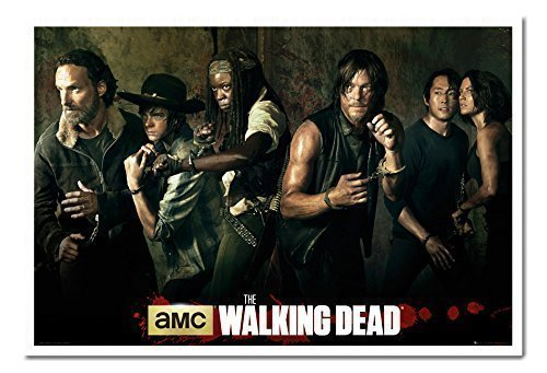 The Walking Dead Season 5 Poster Cast weiß Rahmen, 96,5 x 66 cm (ca. 96,5 x 66 cm) Bilder Von The Walking Dead Cast