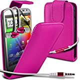 ( Hot Pink ) HTC Sensation XL G21 Protective Faux Leder Flip Case Hülle & LCD-Display Schutzfolie & Aluminium In-Ear-Ohrhörer Stereo-Ohrhörer mit Hands Free Mic & On-Off-Taste Einbau by ONX3