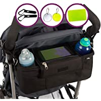 Bolsa de almacenamiento organizador BTR para cochecito de niño, silla de paseo - negra - resistente al agua. Cochecito Clips x 2
