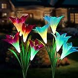 Tvird extérieur Lampes solaires de Jardin 8 Lily Fleur Multicolore Changer LED...