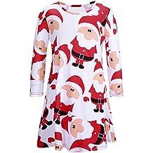 iPretty Robe de Noël Manches Longues Femme Fille Imprimé Bonhomme de neige Père Noël Tunique Mini Robe Mère et fille de Cocktail Soirée …