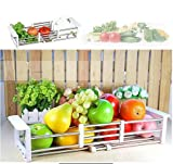 Onmall Multi functional Plastic and stainless steel Drain Rack Storage Box Shelf Drying Holder Utensils Cutlery Tray Home Kitchen Bathroom and sink