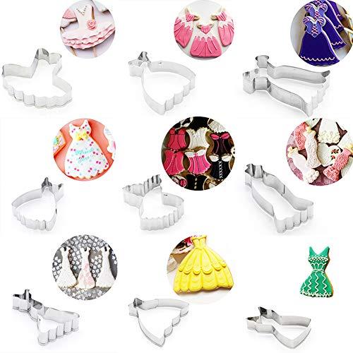 fiejns-zjy 9 Stück Fashion Dress Form DIY Sugarcraft Kuchen Keks Ausstecher Backwerkzeug - Silber silber Fashion Dress Forms