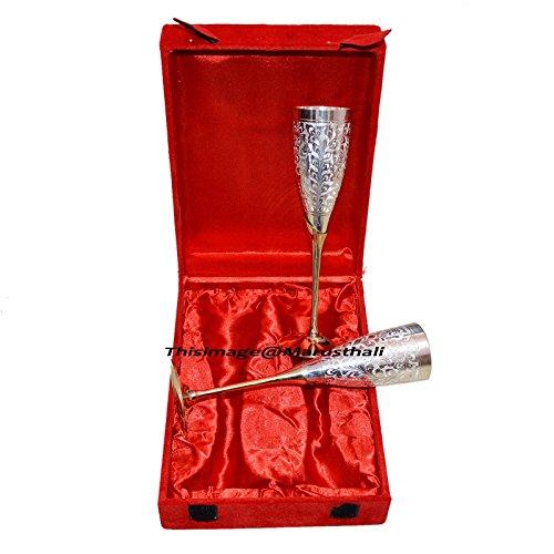 Versilbert Messing Weinkelch/Gläser Set von 2Pcs mit schöner Box Verpackung
