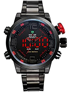 Alienwork DualTime LED Analog-Digital Armbanduhr XXL Oversized Uhr Multi-funktion schwarz Edelstahl OS.WH-2309...