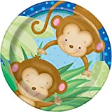 18cm Boy mono Baby Shower Platos Fiesta, pack de 8