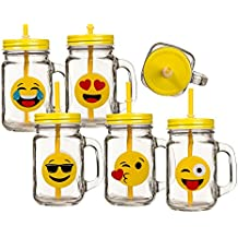 Jarritas con Tapas y Pajitas Emoticonos Gadget and Gifts (pack de 6)