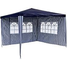 PE del Padiglione gazebo da giardino con 2pannelli laterali per giardino terrazza mercato Camping Festival come tettoia e Plane, impermeabile 3x 3m Blu